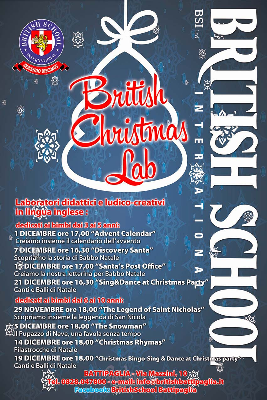 laboratori a dicembre 2016 della British School International Battipaglia